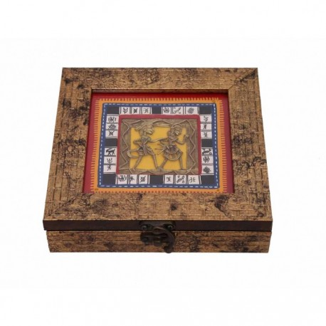 Ethnic Wooden Golden Dhokra Figure Jewellery Box