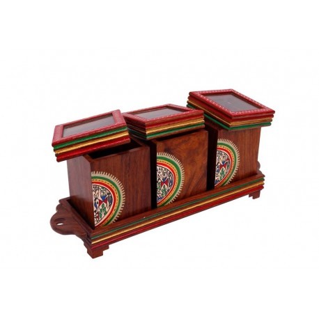 Set Of Three Wooden Warli Art Wooden Jar,Lid And Tray