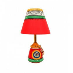 "Terracotta Warli Art Painted Lamp and LampShade 11"""