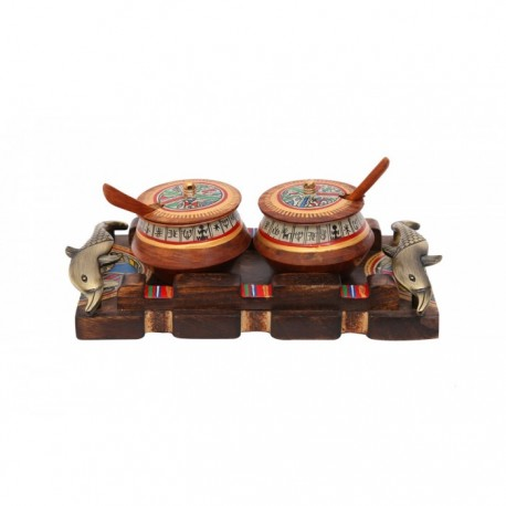 Wooden Warli Art Jars and Fish Handle Tray Kitchenware