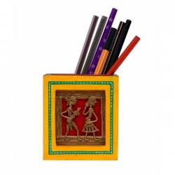 Handcrafted Wooden Dhokra Art Painted Pen Holder Desk Accessory