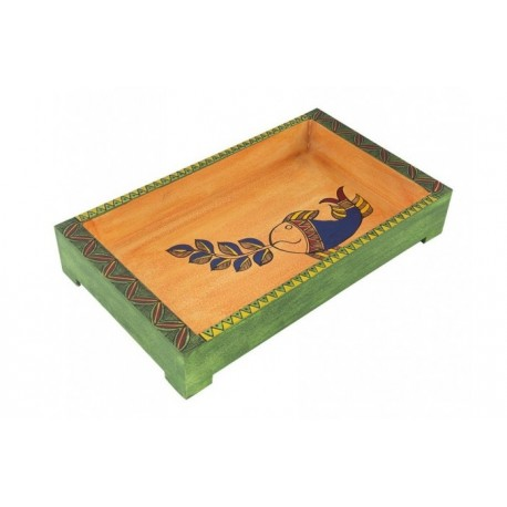 Wooden Handpainted Madhubani Art Rectangular Serving Tray 12 X 7 Inches
