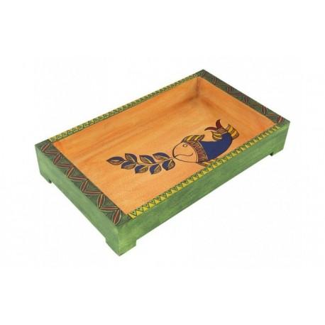 Wooden Handpainted Madhubani Art Rectangular Serving Tray 12 X 7 Inches