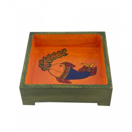 """Ethnic Madhubani Fish Handpainted Wooden Square Serving Tray 7"""" by 7"""""""