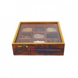 Handpainted Multipurpose Wooden Storage Box/ Spice Box/ Jewellery Box/ Detachable Box