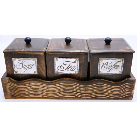 Handcrafted Mango Wood Set of Three Cannister Jar With Tray