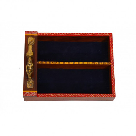 Handcrafted Wooden Cutlery Holder With Brass Dhokra Handle
