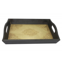 Wooden Brass Embossed Serving Tray Jodhpur Art