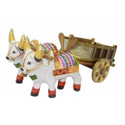 Decorative Bullock Cart Showpiece Ceramic Bulls and Wooden Cart
