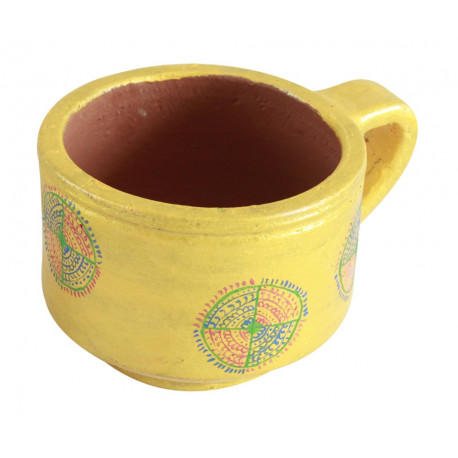 Handpainted Ethnic Design Coffee Mug Shaped Planter