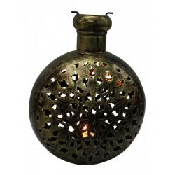 Round Shape Wrought Iron Ethnic Tealight Holder Copper Finish Cutwork Tealight Candle Holder
