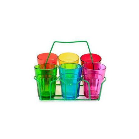 Colourful Cutting Chai Glass and Stand
