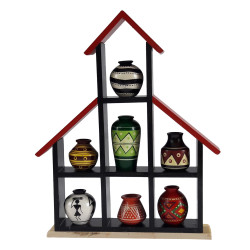 Wooden Wall Shelf With Decorative Handpainted Wooden Pots Channapatna Art Ethnic Design Pots