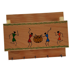 Wooden Warli Handpainted Key holder / Letter Holder 5 HooksWarli Art Wall Decor