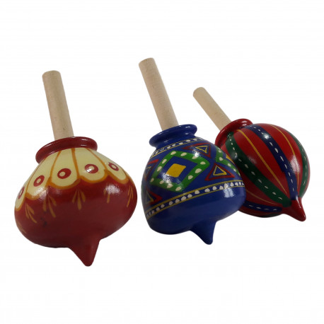 Set Of Three Hand Painted Ethnic Design Wooden Channapatna Craft Spinning Top Lattoo