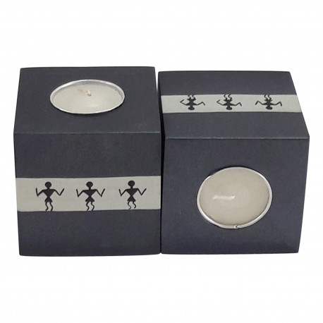 Wooden Warli Art Painted Set Of Two Tea Light Candle Holder Home Decorative