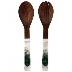 Handcrafted Wooden Mother Of Pearl Inlay Serving Spoon Salad Spoon Set