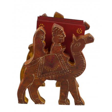 Wooden Set Of 5 Coaster Set With Camel Shape Stand