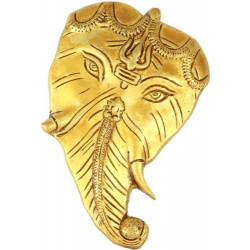Brass Ganesha on Leaf Wall Hanging