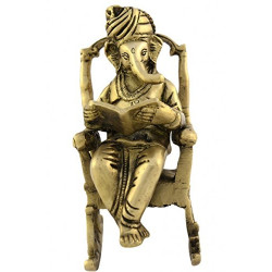 Brass Ganesha On Rocking Chair Statue