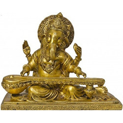Brass Handcrafted Decorative Ganesha With Veena Sitar 25.4 cm