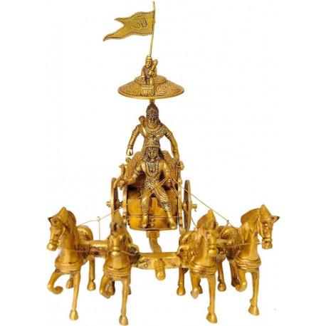 Brass Krishna and Arjun on Chariot Showpiece