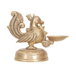 Brass peacock deepak diya oil lamp