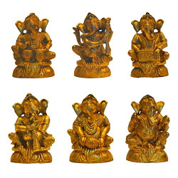 Set of Six Brass Musical Ganesha Figurine Idol Statue Ganpati