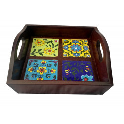 Wooden Handcrafted Serving Tray With Blue Pottery Tile Inlay