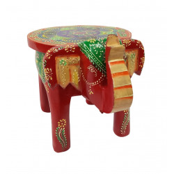 Wooden Handpainted Elephant Shaped Decorative Stool Display Stand