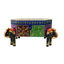 Wooden Handpainted Elephant Shaped Colourful Multipurpose Decorative Box