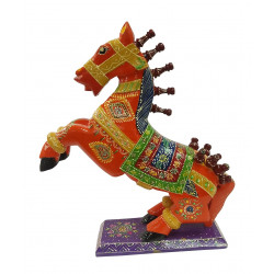 Handcrafted Wooden Colourful Jumping Horse Showpiece Statue Figurine Home Decor