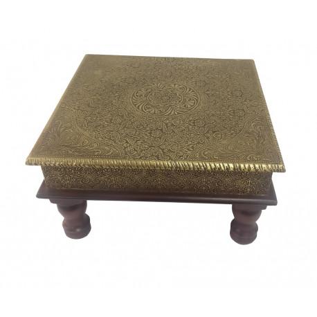 Brass Emboss Wooden Square Pooja Chowki Puja Chowki Bajot Stool