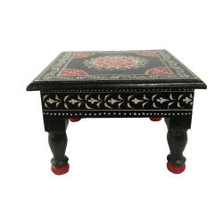 Wooden Black Pooja Chowki Decorative Stool Puja Chowki