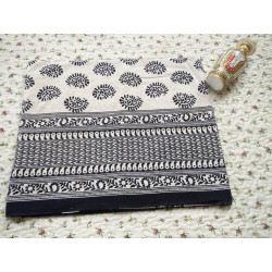 Bagru Block Printed Black Cotton Queen Size Bedsheet