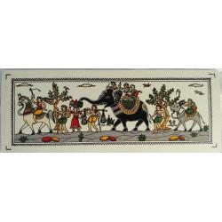 "Odisha Tribal Art Decorative Painting On Silk 7"" x 2.5""/ Miniature Silk Painting"