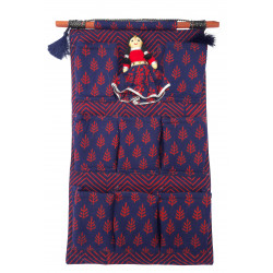 Ethnic Handmade Cotton Accessory Organiser With Puppet Wall hanging/ Stationery Organiser