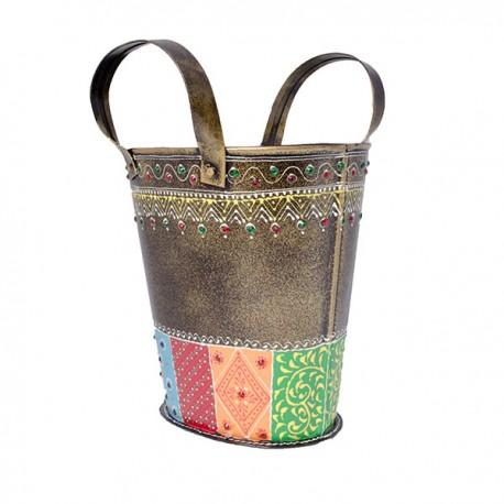 Painted Iron Bag Shaped Vase