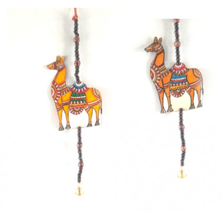 Traditional Handpainted Decorative Camel Shape Leather Puppetry Door Hanging