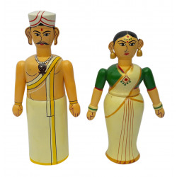 Channapatna Art Wooden Handcrafted South Indian Couple Doll Showpiece 12""