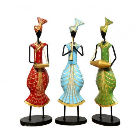Painted Three Piece Punjabi Musical Figurine
