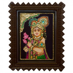 Bala Krishna Tanjore Painting With Wooden Frame