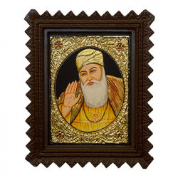 "Guru Nanak Tanjore Painting With Wooden Frame 10"" x 12"""