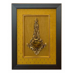 Decorative Brass Wall Hanging Diya with Wooden Frame and Silk Cloth/Hanging Diya/Brass Wall Hanging