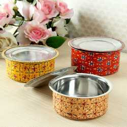 Hanpainted Stainless Steel Serving Bowls Set Of Three