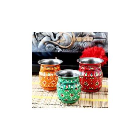 Handpainted Set Of Three Pooja Kalash Lota