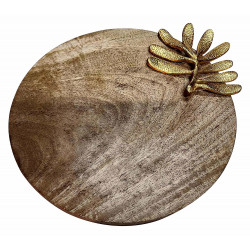 Round Sheesham Wood Pizza Serving Plate/Wooden Round Snack Serving Platter
