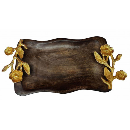 Wooden Wave Shape Handcrafted Serving Platter/Wooden Tray