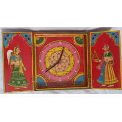 Handcrafted Wooden Kawaad/Kaavad Art Handpianted Wall Clock Wall Decor Indian Art