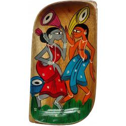 "Traditional Colourful Kalighat Art Handpainted Serving Platter/ Tray 8"" X 4"""